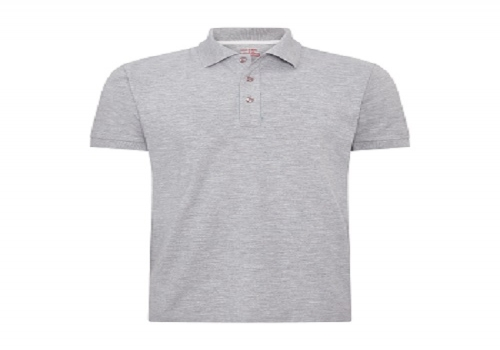 Grey melange pique fabric polo shirt, no pocket ---1.08usd