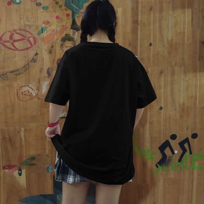 Black unisex tee lulo 100% cotton, big size, oversize, soft and nice - 3