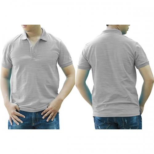 Polo shirt with pocket - Grey melange