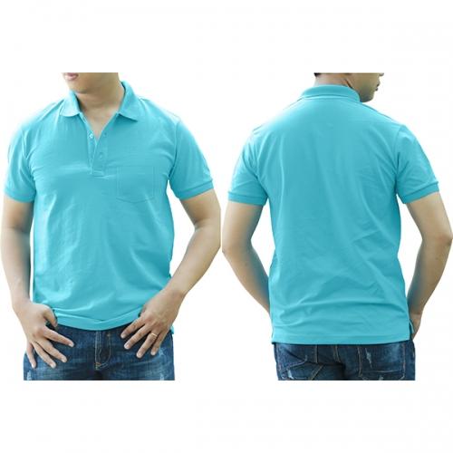 Polo shirt with pocket - Sky blue