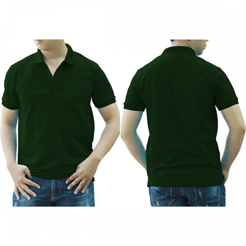 Polo shirt with pocket - Bottle green