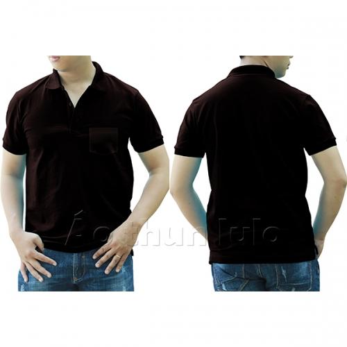 Polo shirt with pocket - Brown