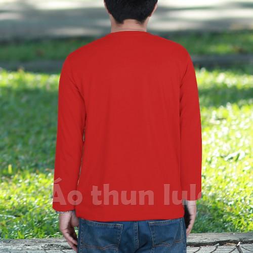 Áo thun nam cổ tim tay dài Đỏ tươi